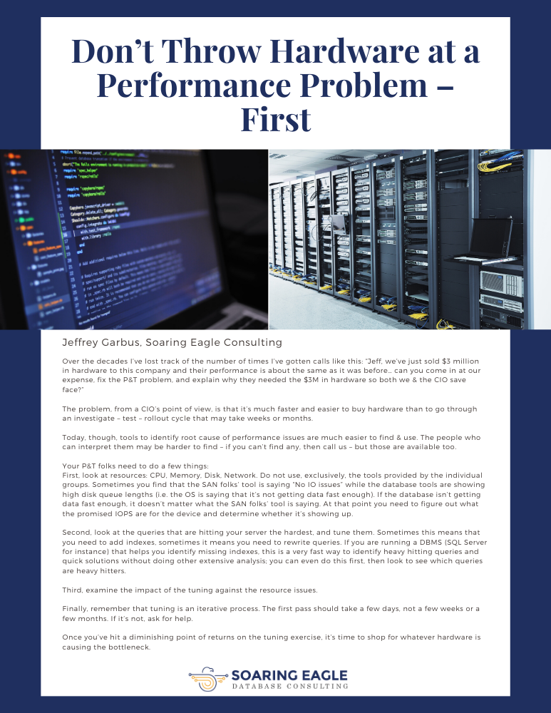 Don't Throw Hardware at a Performance Problem